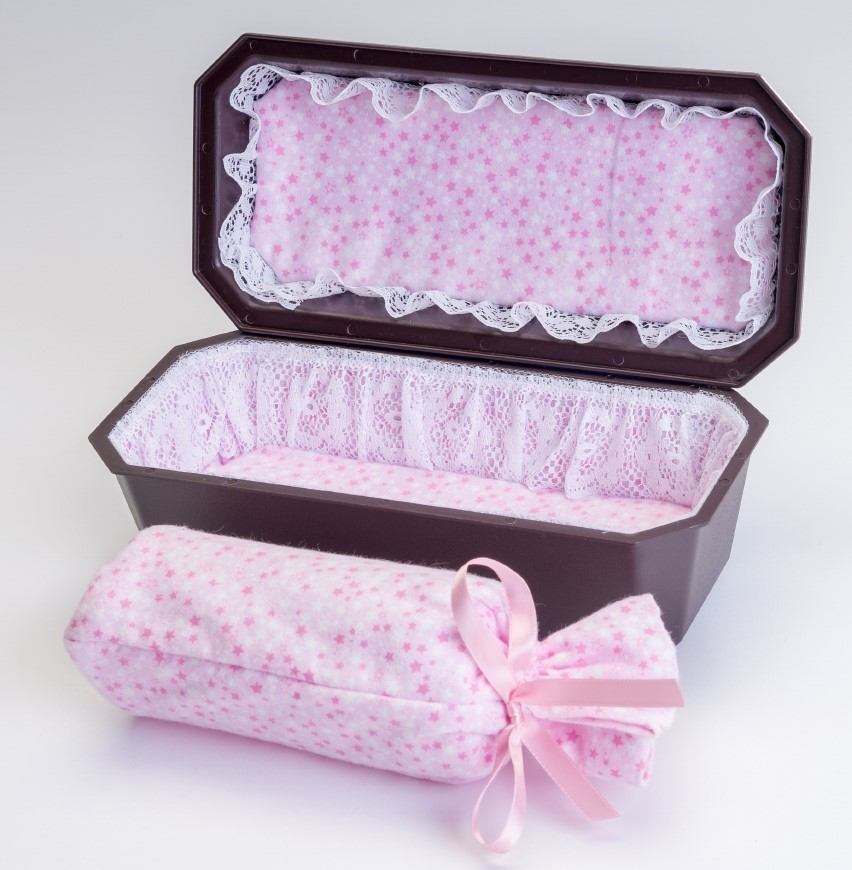 Baby Girl Cradle Casket with Pink Interior (up to 18 weeks)   C-9-2P