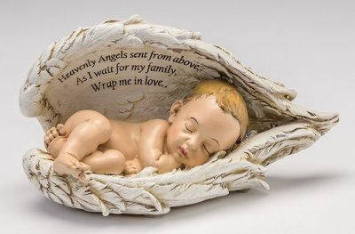 Baby In Angel Wings Urn (light skin tone)     U-BIW-WH