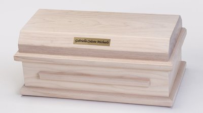 White Ash Preemie Baby Casket (for baby up to 27 weeks)     C-15-WA