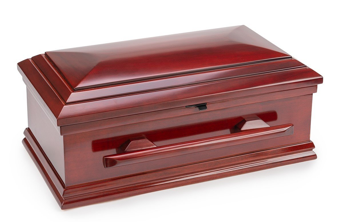 Classic Wood Baby Casket with Slide Lock (19 inch interior) C-19-SO