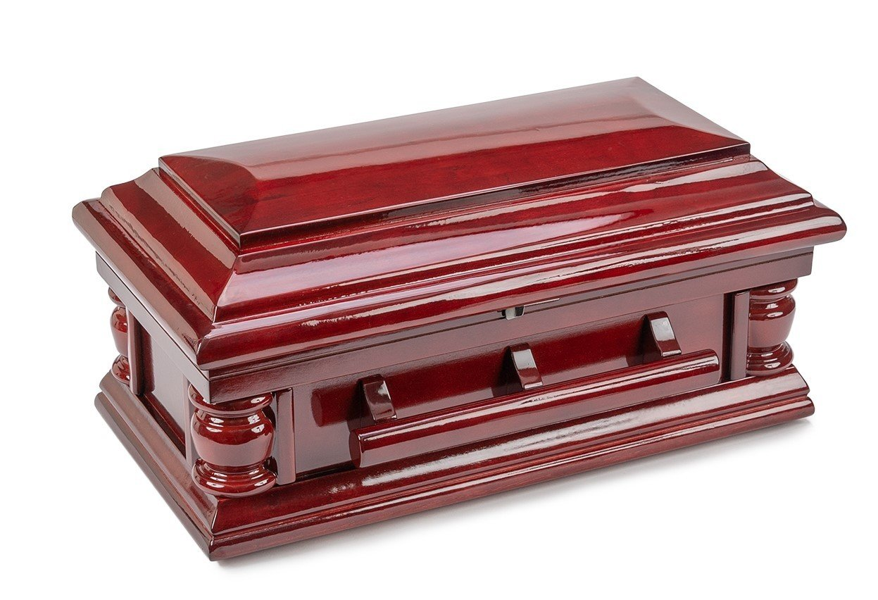 Mahogany finished Poplar infant casket (17 inch interior)  C-17-JB-MOH
