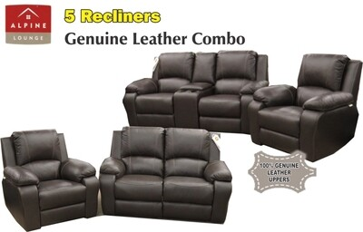 6 RECLINER MOTION 6 SEATER IN GENUINE LEATHER UPPERS
