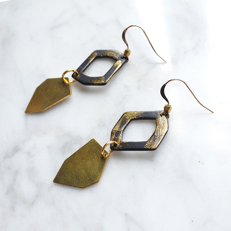Fancy form earrings — 14k hook, designed in Hong Kong, fashion accessories, special gift