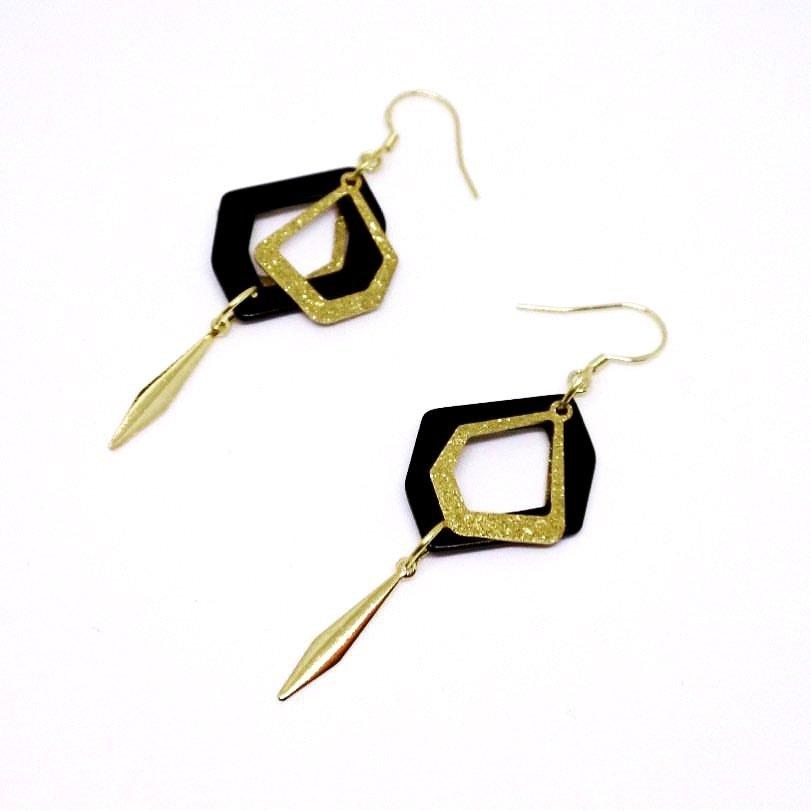 Shiny earrings - Handmade drop earrings, 925 golden hook, beauty, fashion jewellery