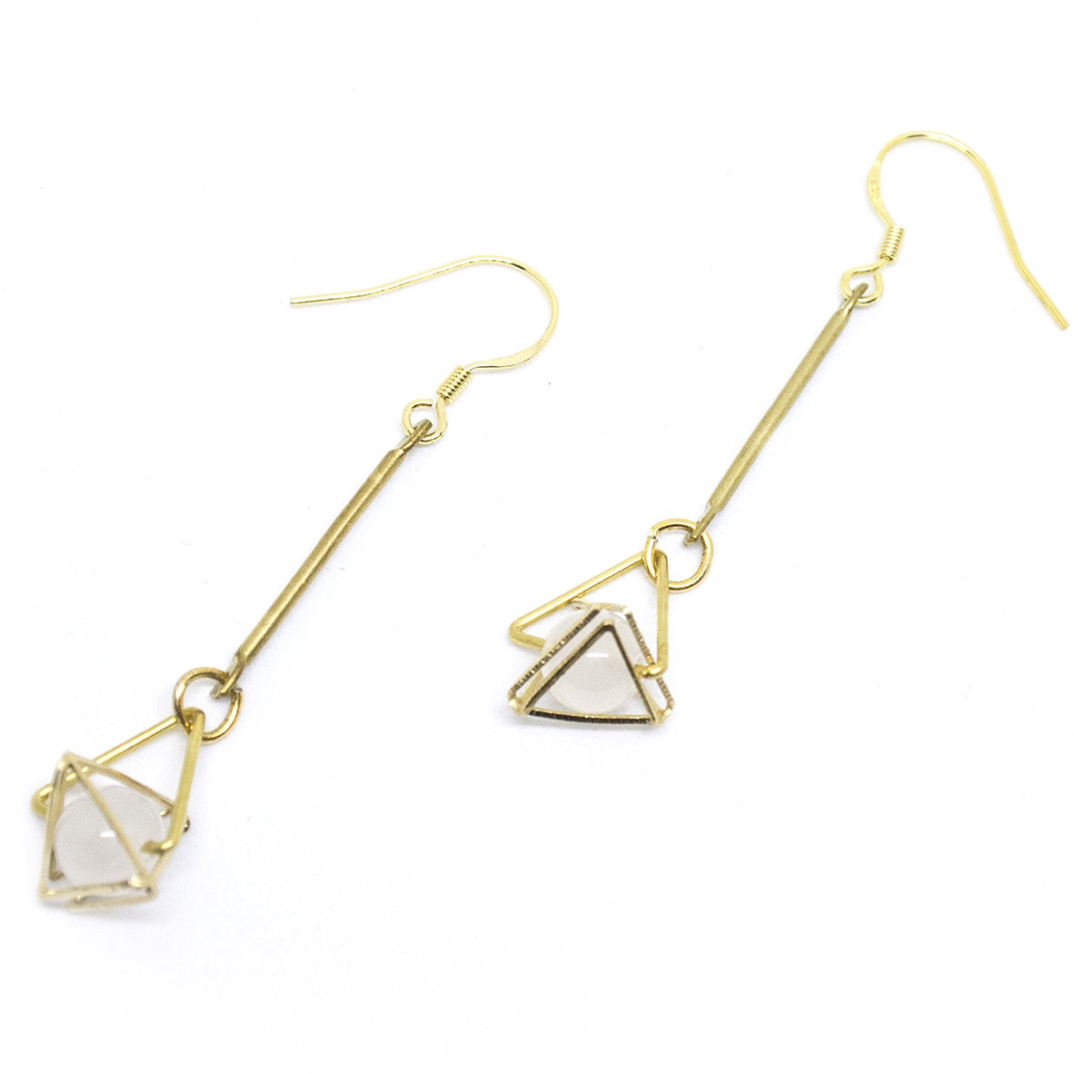 Golden triangle — white translucent beads, 925 golden hook, Hong Kong, fashion jewellery