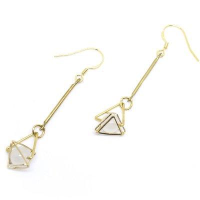 Golden triangle — white translucent beads, 925 golden hook, Hong Kong, fashion jewellery