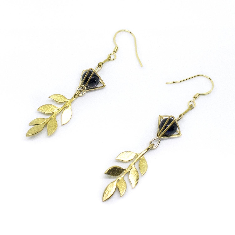 Golden sprout - On sale, 925 golden hook, long earrings, Hong Kong design, fashion jewellery