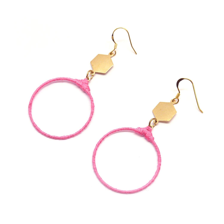 Flamingo pink earrings