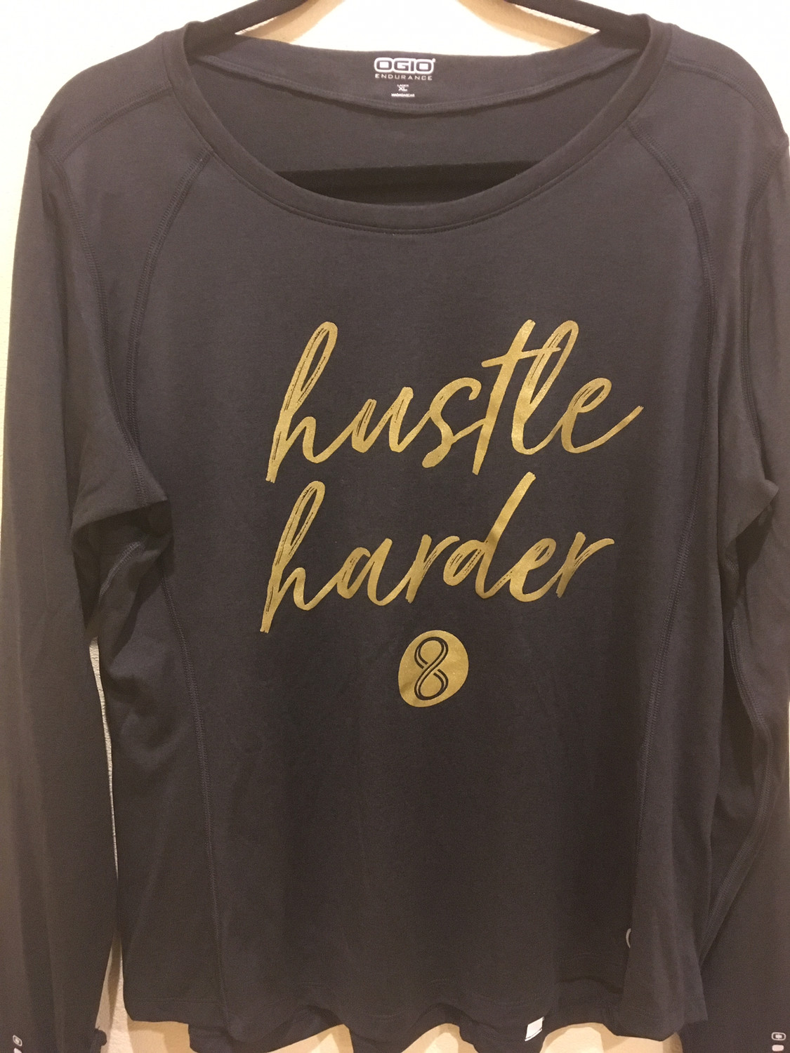 """Hustle Harder"" Full Sleeve - Charcoal"