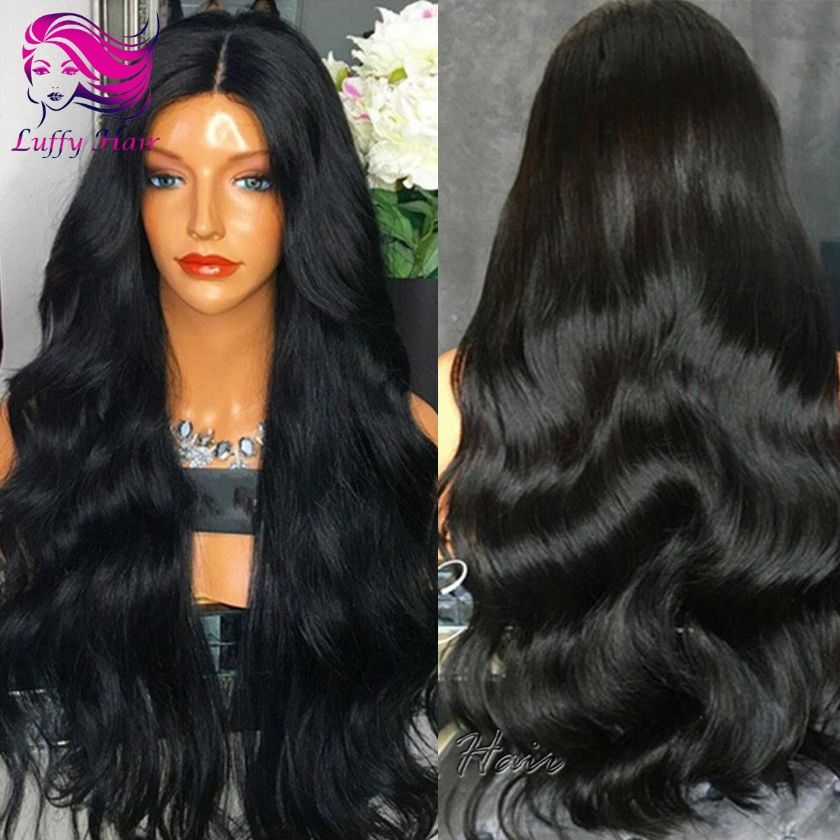 8A Virgin Human Hair 180% Density Natural Wave Wig - KWL072