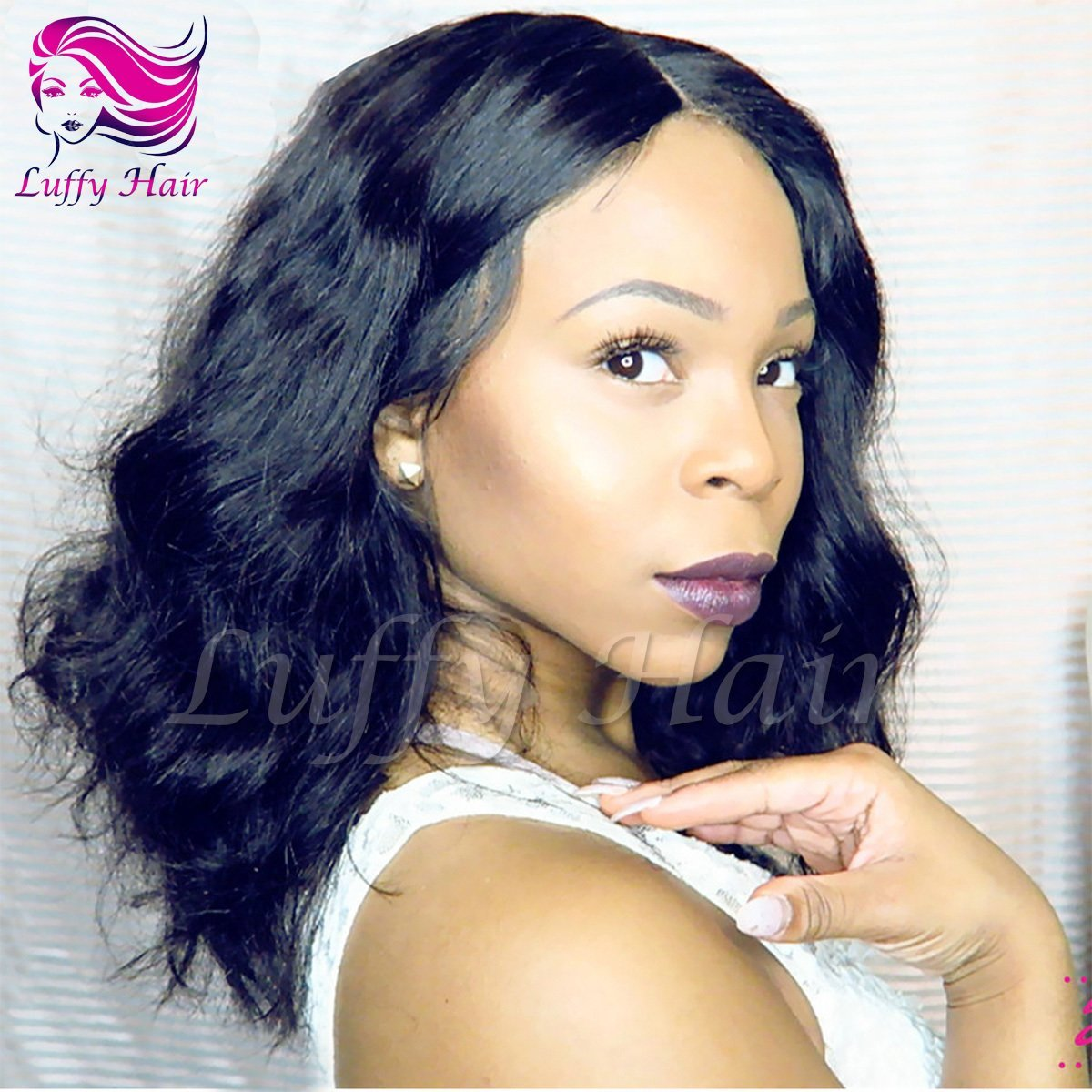 "10A Virgin Human Hair 8""-14"" Short Natural Wave Wig - KWL003C"