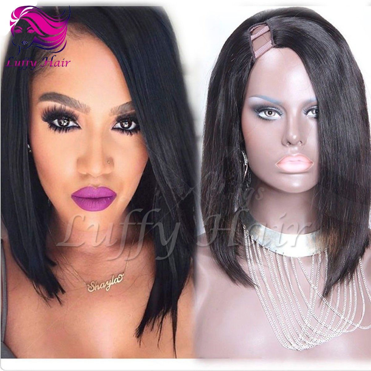 8A Virgin Human Hair Short Bob U Part Wig - KWU002
