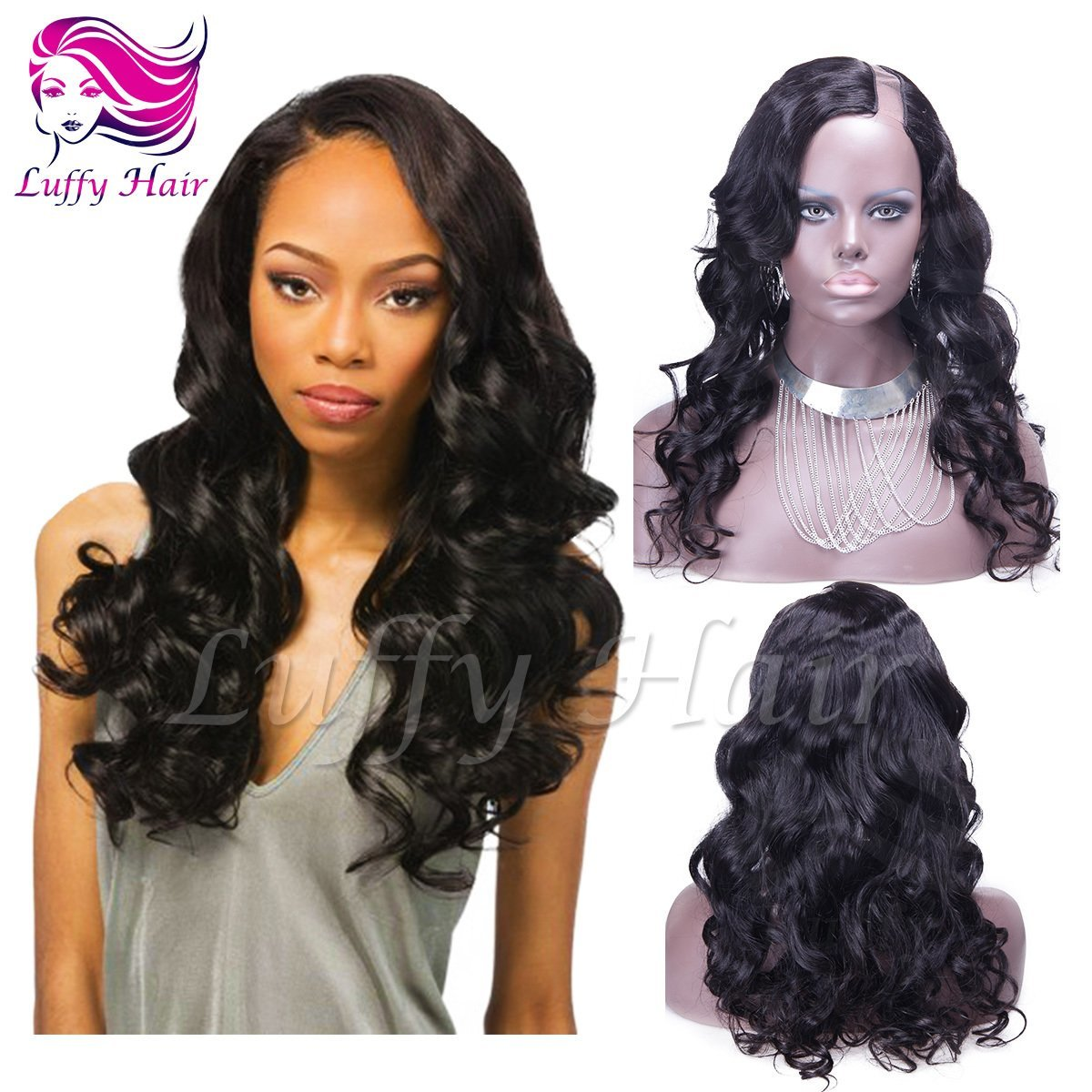 8A Virgin Human Hair Body Wave U Part Wig - KWU005