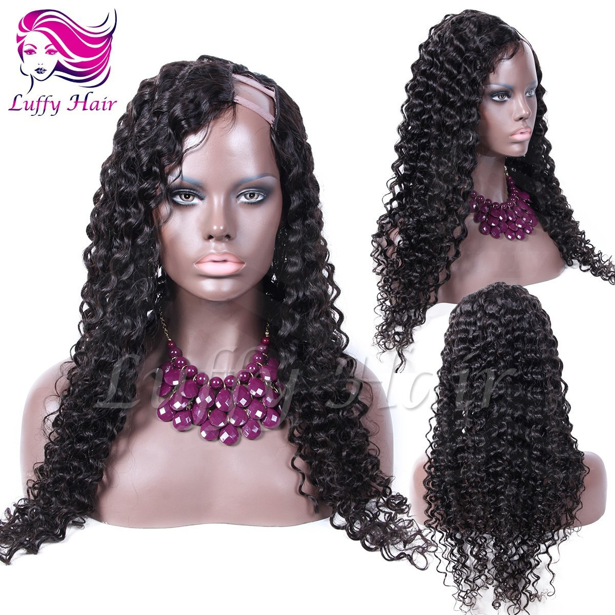 8A Virgin Human Hair Curly U Part Wig - KWU045