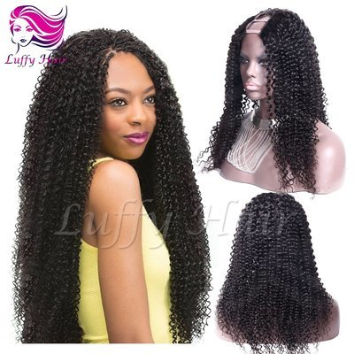 8A Virgin Human Hair Afro Kinky Curly U Part Wig - KWU013