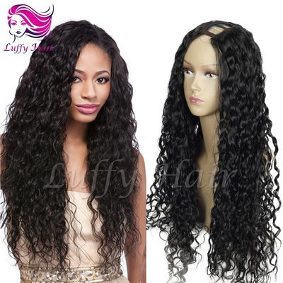 8A Virgin Human Hair 180% Density Curly U Part Wig - KWU001