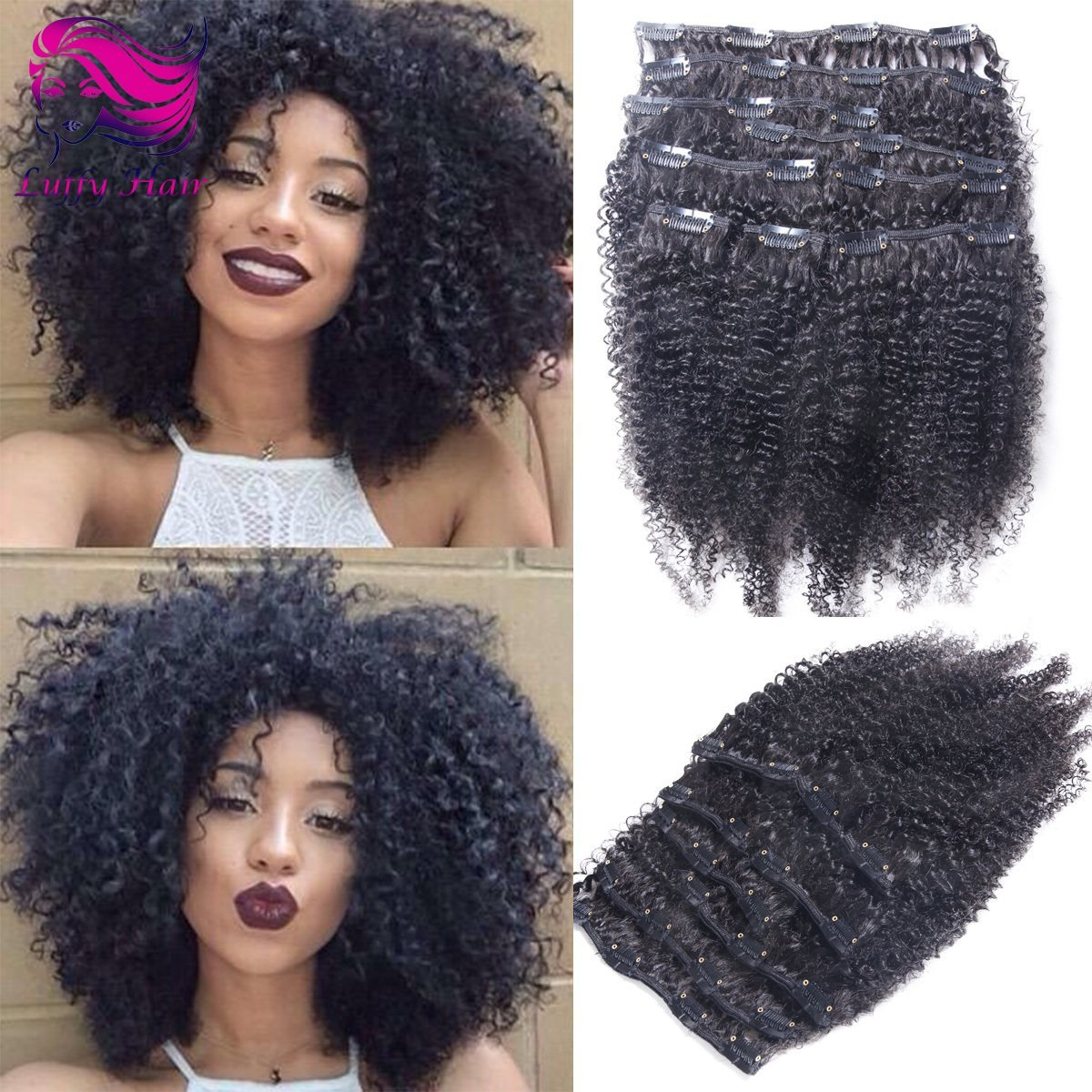 8A Virgin Human Hair Afro Clip In Hair Extensions - KIL001