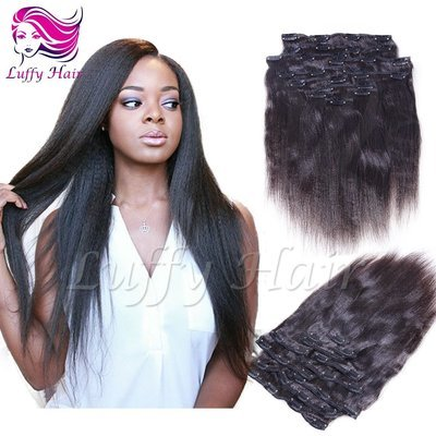 8A Virgin Human Hair Italian Light Yaki Straight Clip In Hair Extensions - KIL002