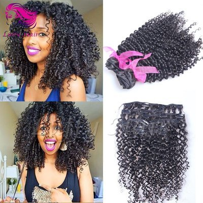 8A Virgin Human Hair Kinky Curly Clip In Hair Extensions - KIL007