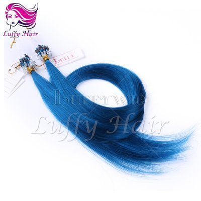 10A Virgin Human Hair Color #Blue Silky Straight Micro Loop Ring Hair Extensions - KML005