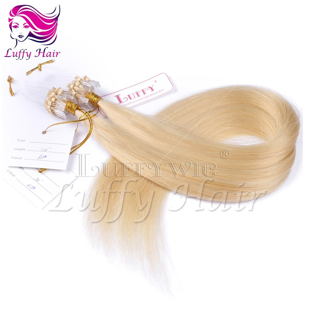10A Virgin Human Hair Color #613 Silky Straight Micro Loop Ring Hair Extensions - KML006