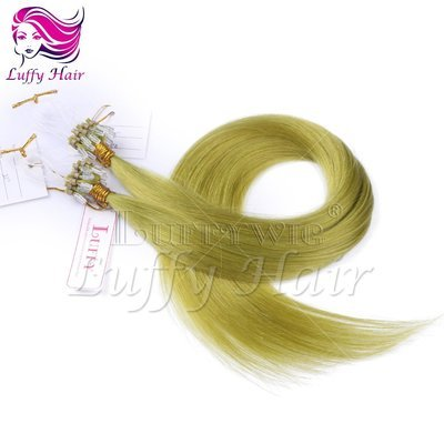 10A Virgin Human Hair Color #Green Silky Straight Micro Loop Ring Hair Extensions - KML008
