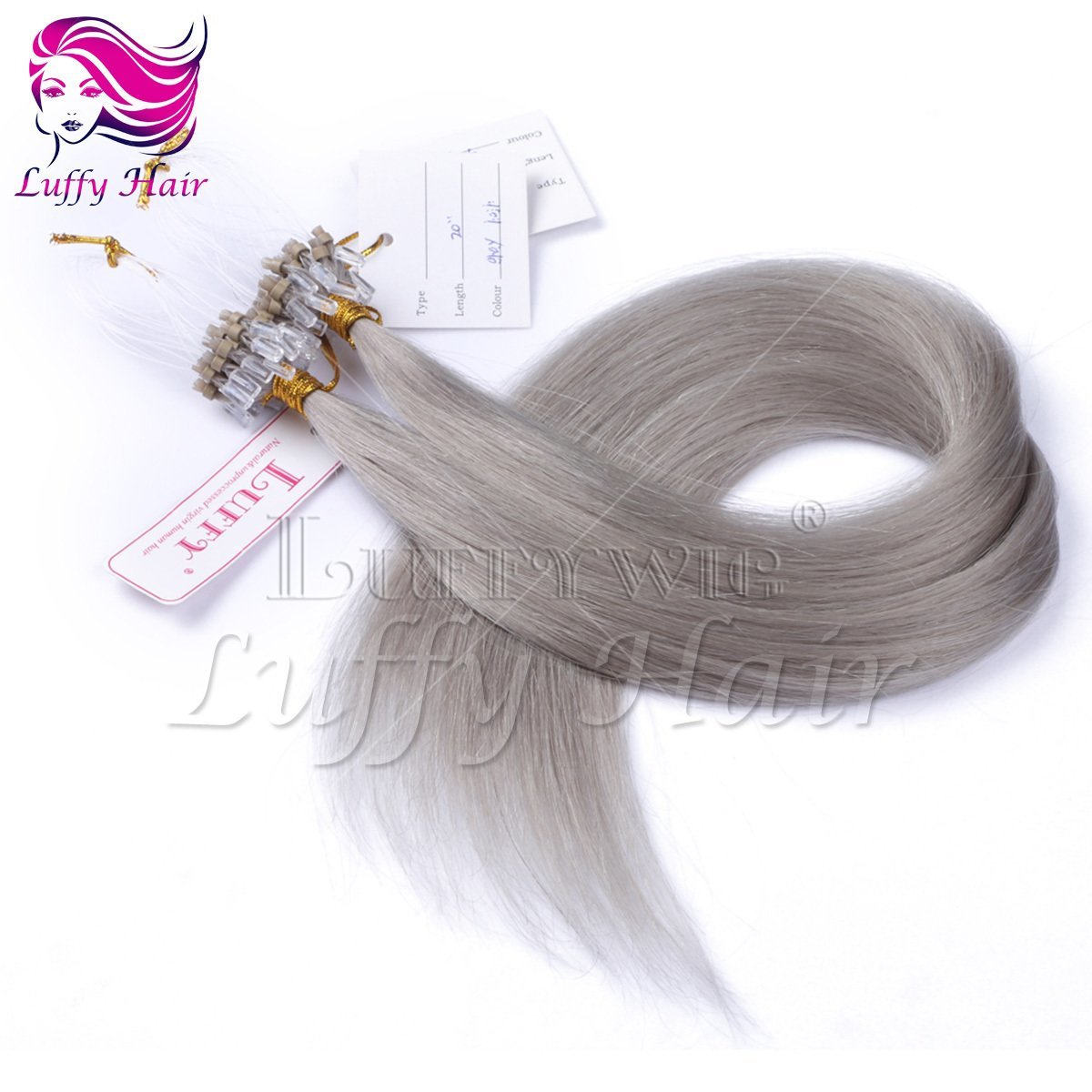 10A Virgin Human Hair Color #Gray Silky Straight Micro Loop Ring Hair Extensions - KML009