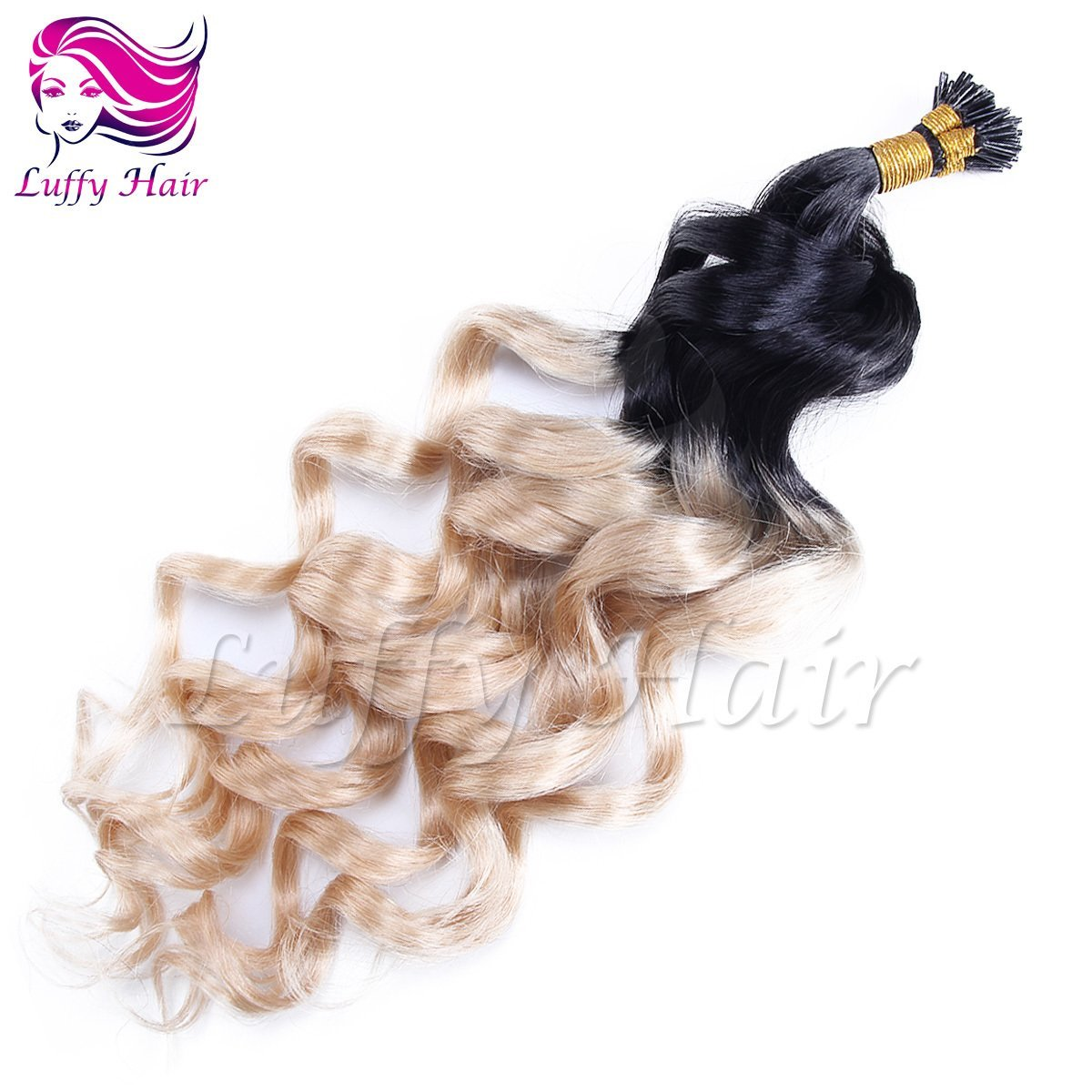 10A Virgin Human Hair Color #1B/#22 Ombre Body Wave Fusion Hair Extensions - KFL015