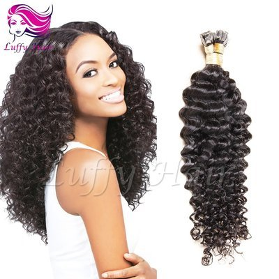 8A Virgin Human Hair Curly Fusion Hair Extensions - KFL005
