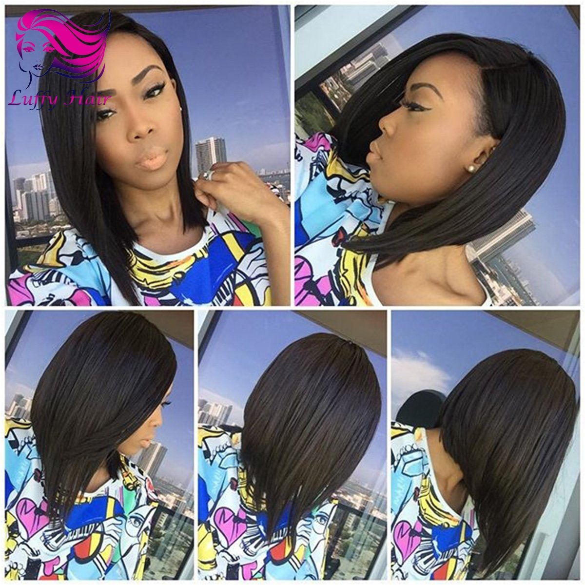 "8A Virgin Human Hair 8""-14"" Short Bob Wig - KWL008"