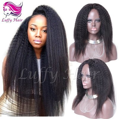 8A Virgin Human Hair Kinky Straight Wig - KWL022