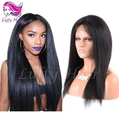 8A Virgin Human Hair Italian Yaki Straight Wig - KWL028
