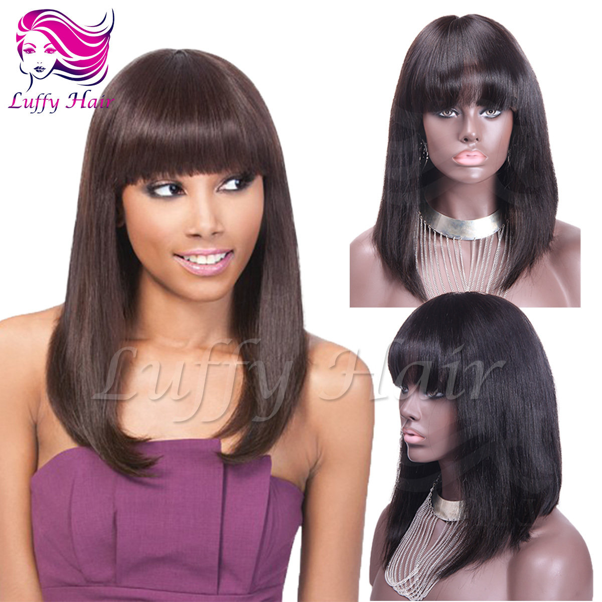 "8A Virgin Human Hair 8""-14"" Short Bob Wig With Bangs - KWL040"
