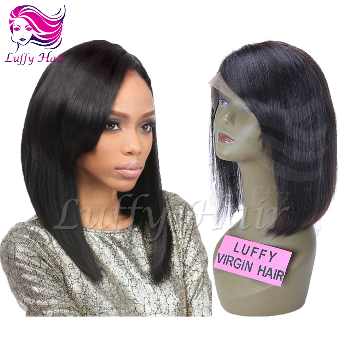 "8A Virgin Human Hair 8""-14"" Short Bob Wig With Side Bangs - KWL007"