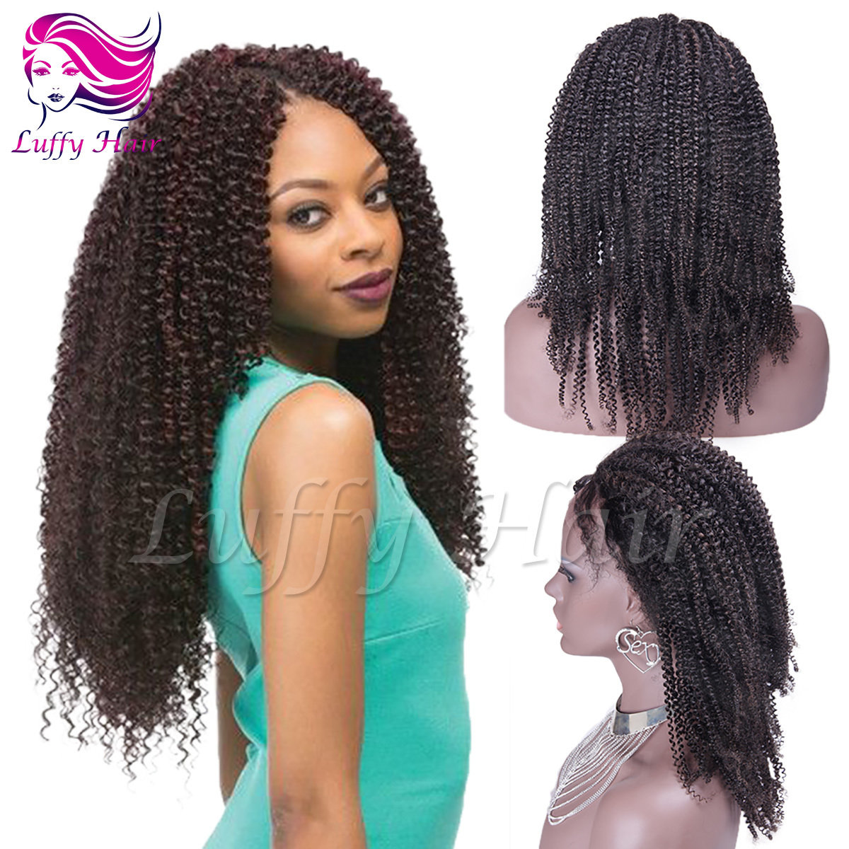 8A Virgin Human Hair Afro Kinky Curly Wig - KWL010