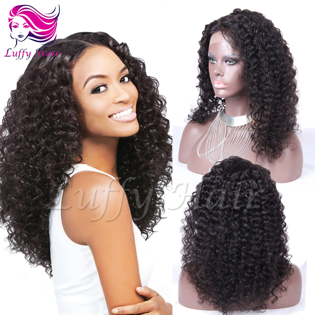 8A Virgin Human Hair Kinky Curly Wig - KWL071