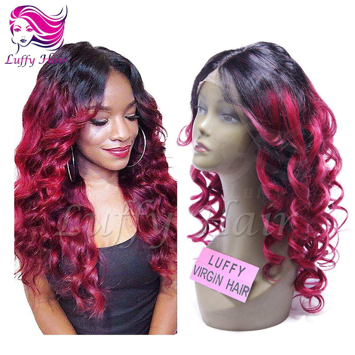 10A Virgin Human Hair #1B/#Burgundy Body Wave Wig - KWL029