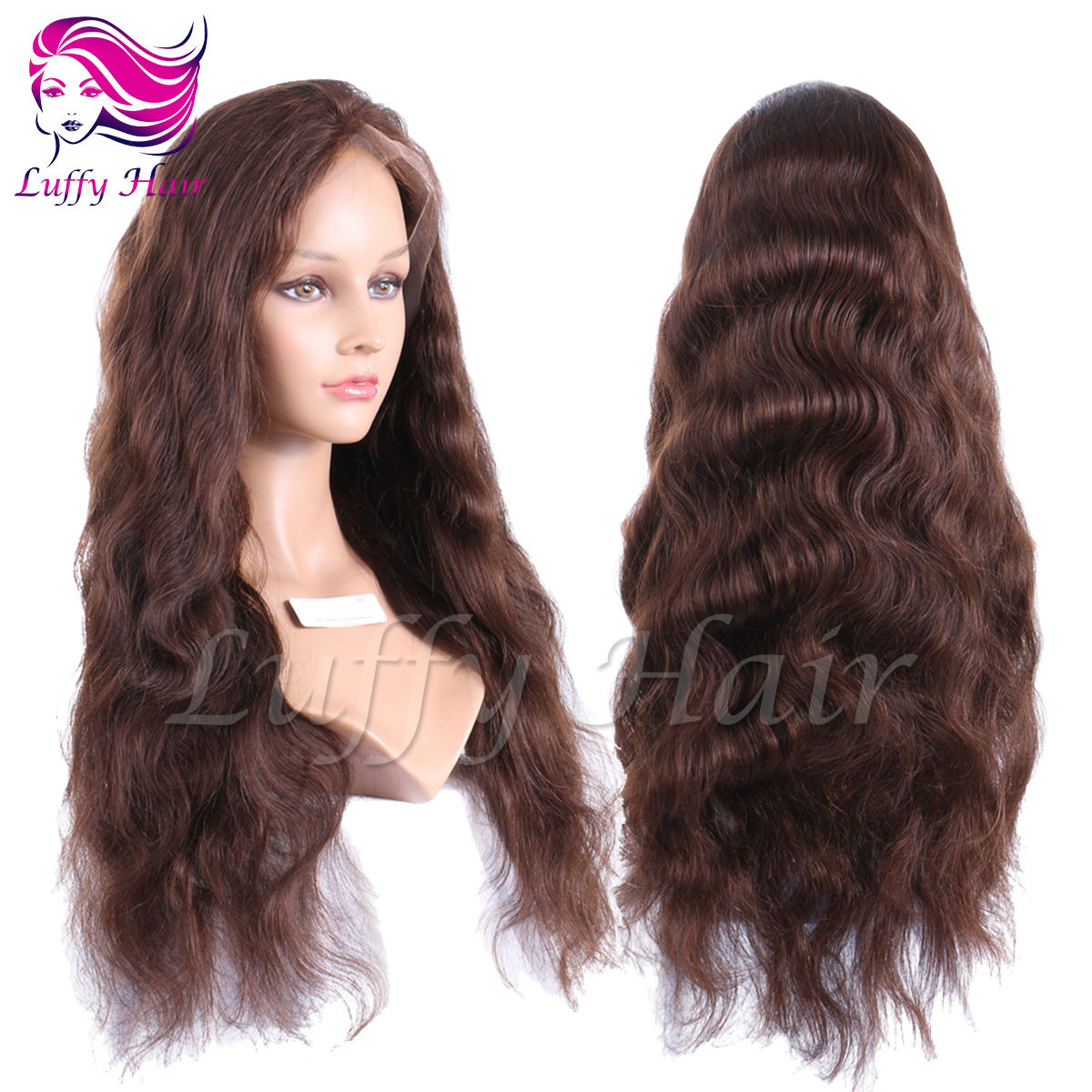 8A Virgin Human Hair Color #4 Natural Wave Wig - KWL060