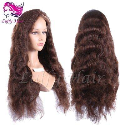 8A Virgin Human Hair Color #4 Natural Wave Wig - KWL060
