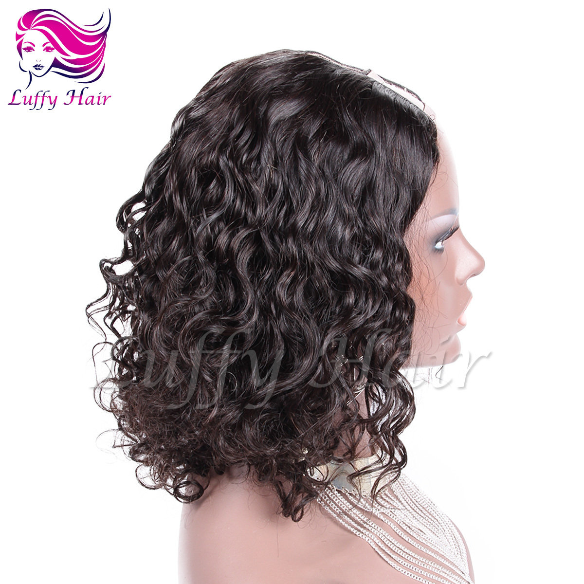 8A Virgin Human Hair Short Curly U Part Wig - KWU012