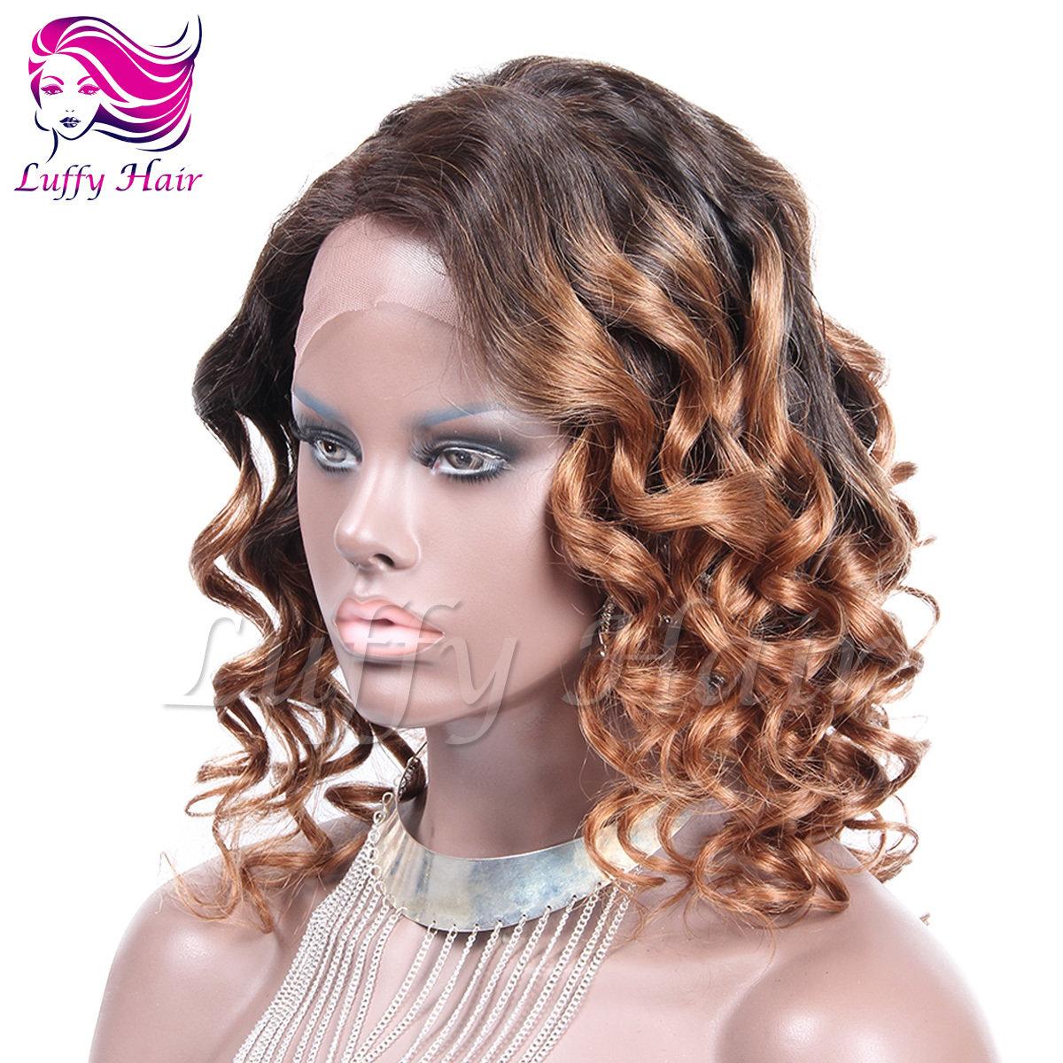 8A Virgin Human Hair #1B/#30 Body Wave Wig - KWL074