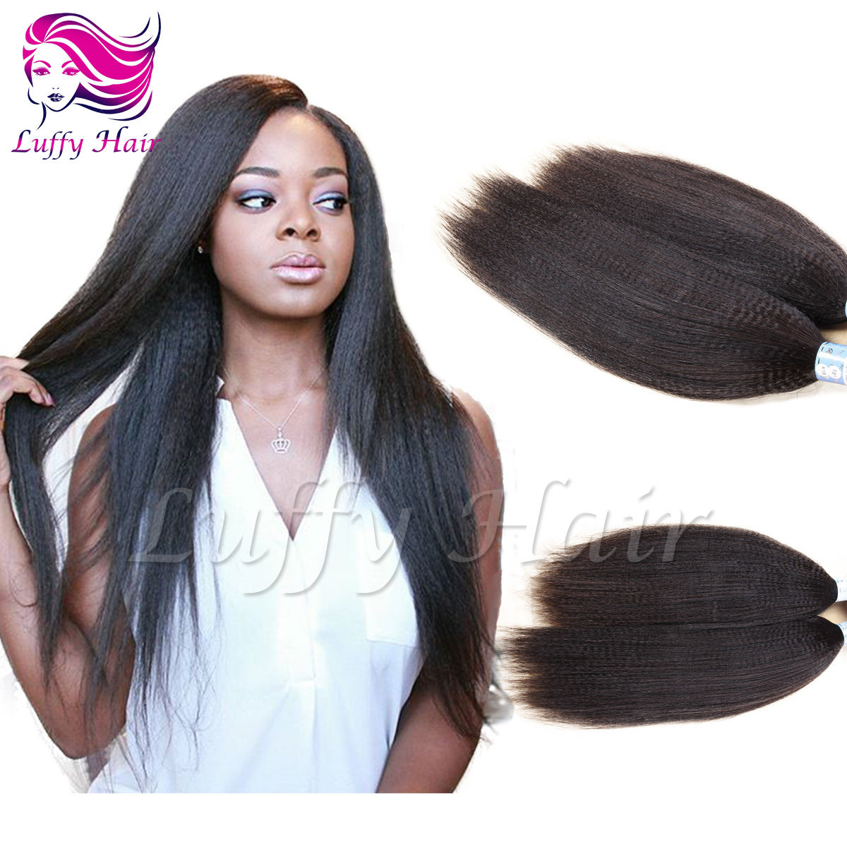 8A Virgin Human Hair Italian Yaki Straight Micro Loop Ring Hair Extensions - KML013
