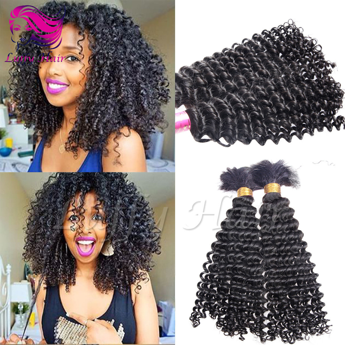 8A Virgin Human Hair Kinky Curly Braiding Hair Bulk - KBL010