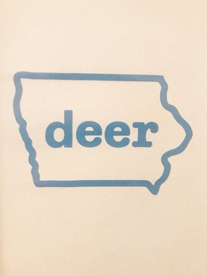 Blue Iowa Deer Logo Decal