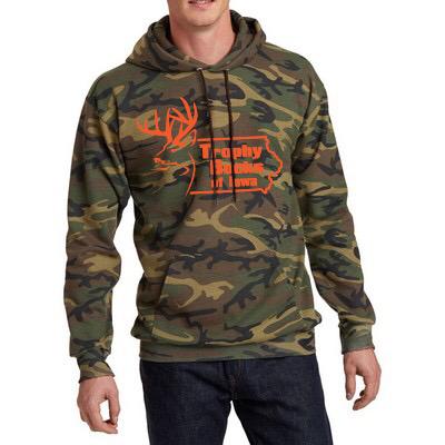 Dark Camo Orange TBI logo Hooded Pullover Sweatshirt