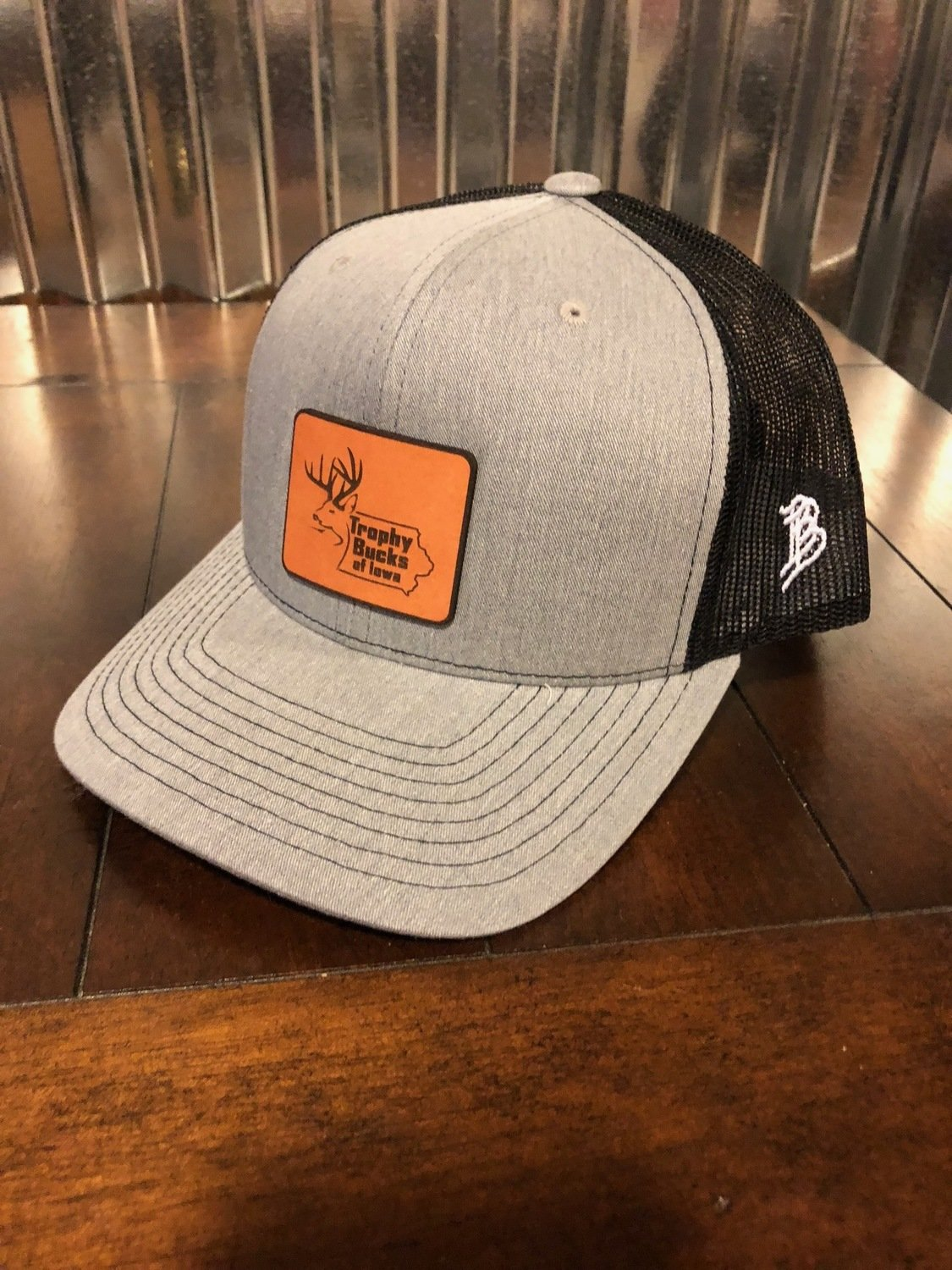 Grey / Leather Patch Hat Square