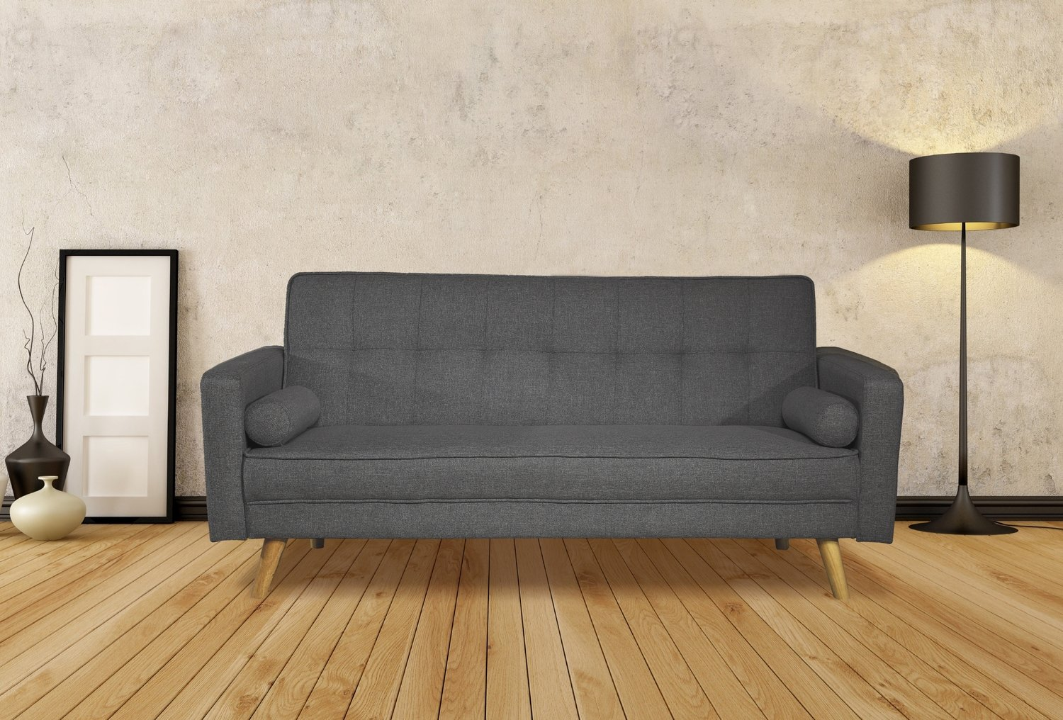 3 seater fabric sofa bed light grey or charcoal boston 3 seater fabric sofa bed light grey or charcoal amipublicfo Choice Image