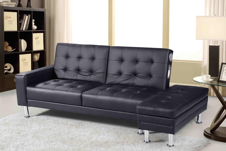 Knightsbridge Bluetooth Speakers Sofa Bed With Storage Ottoman Black