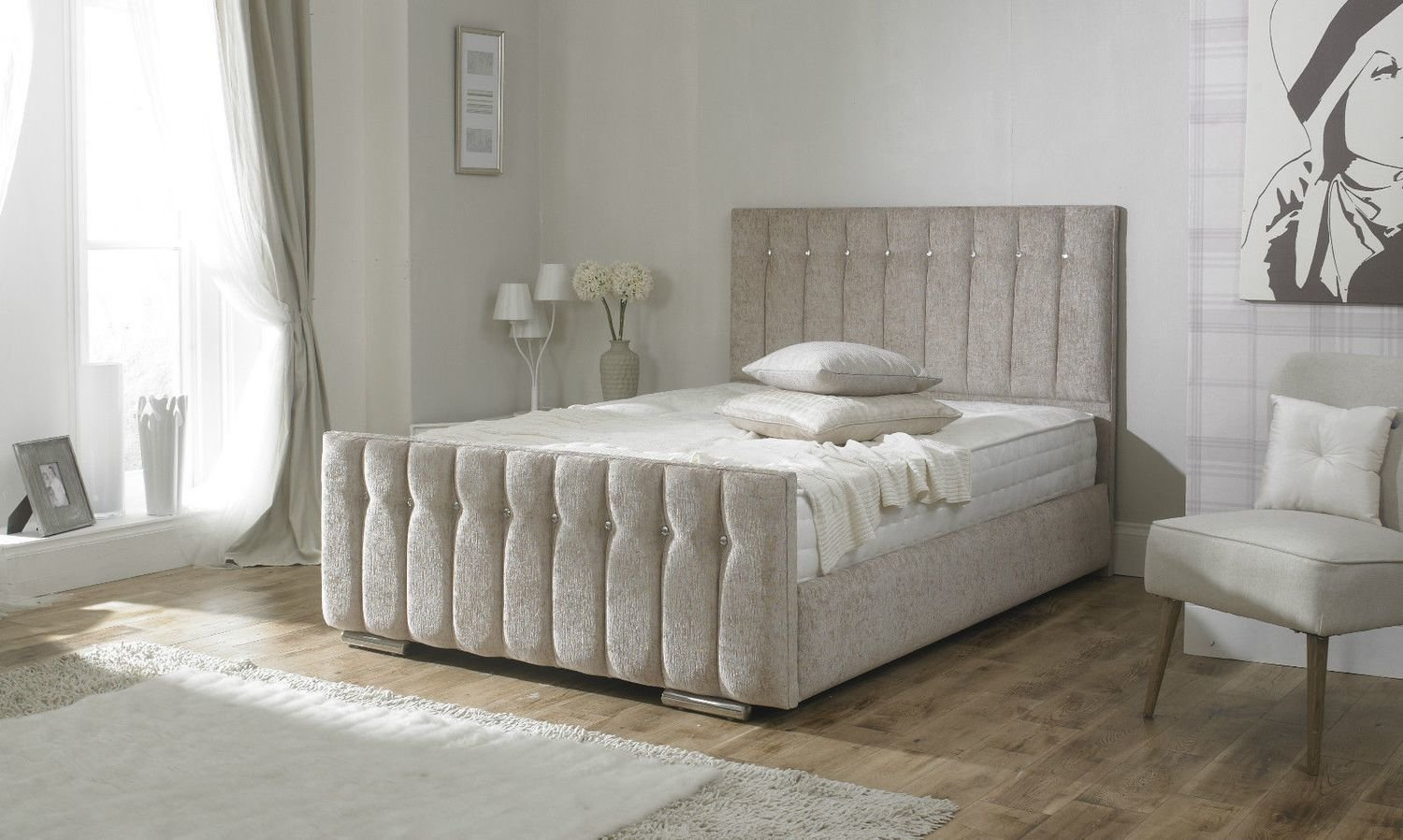 luxury diana chenille fabric upholstered storage bed 7 colours - Luxury Storage Beds