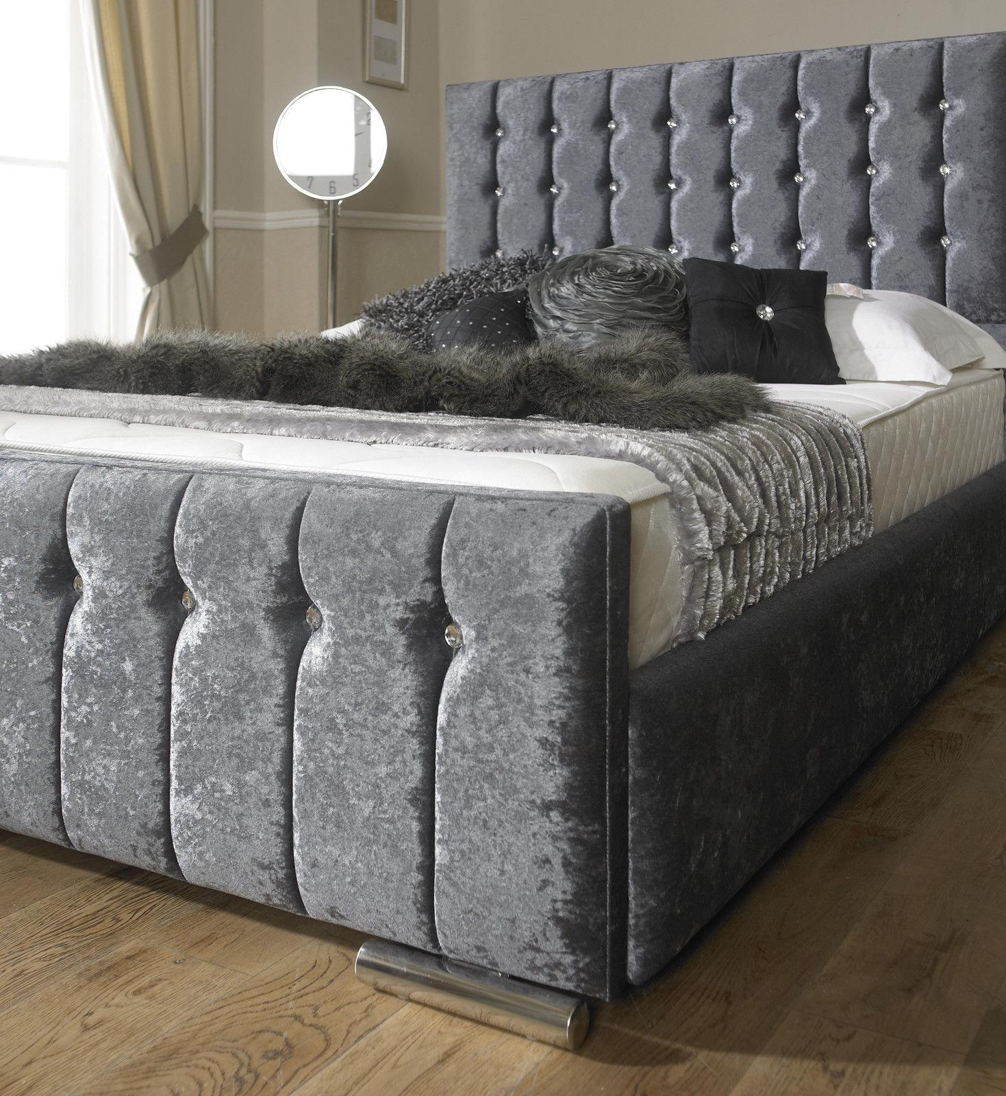 luxury hilton crushed velvet fabric upholstered storage bed - Luxury Storage Beds